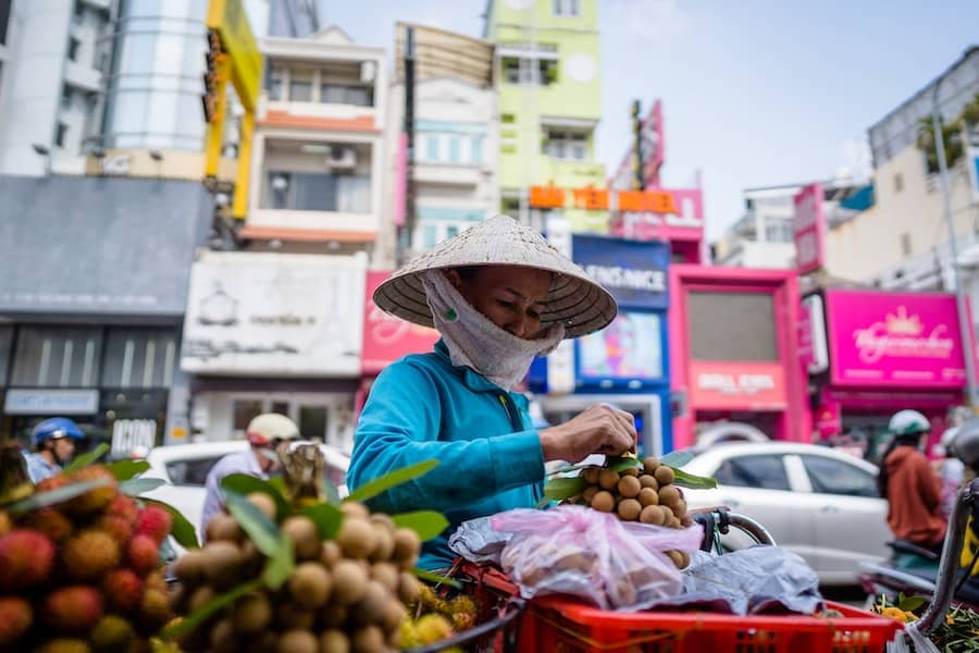 A lady in Vietnam selling fresh fruits